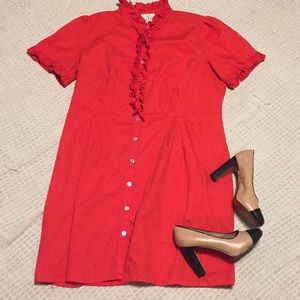 ICE orange ruffle collar dress